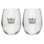 Crown Pewter Accent Stemless Wine Glass Goblets, Set of 2