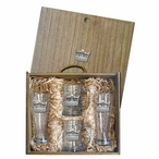 Crown Pilsner Glasses & Beer Mugs Box Set with Pewter Accents