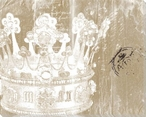 Crown Silver on Gold Wrapped Canvas Giclee Print Wall Art