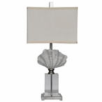 Crystal Beach Shell Metal & Resin Table Lamp w/ Off White Linen Shade