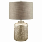 Crystal Coral Glass Table Lamp with Grey Linen Shade