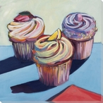 Cupcake Trio Wrapped Canvas Giclee Print Wall Art