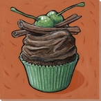Cupcake with Chocolate Frosting Wrapped Canvas Giclee Print Wall Art