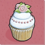 Cupcake with White Frosting and Roses Wrapped Canvas Giclee Art Print