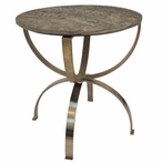Curved Bengal Manor Aged Brass Round Table with Textured Marble Top