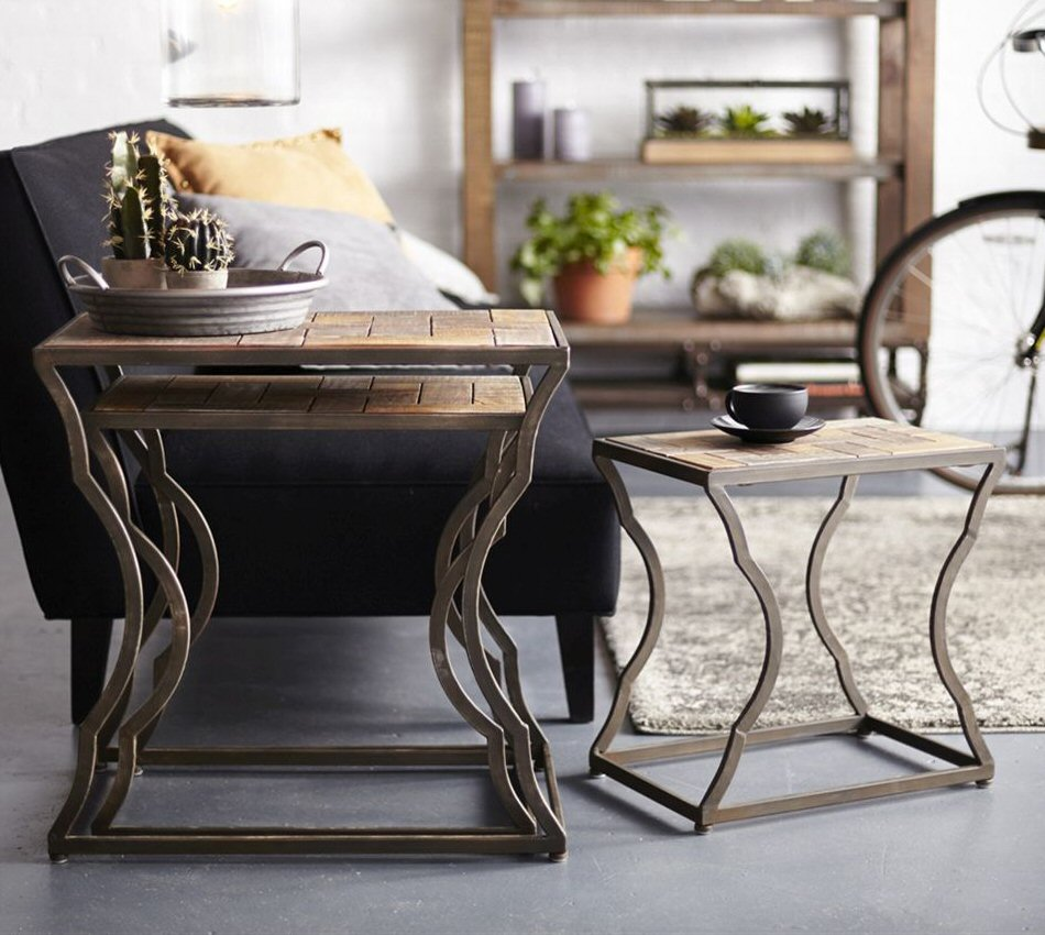 Curvy Legs Brown Metal Nesting Tables Set of 3 & Curvy Legs Brown Metal Nesting Tables Set of 3 - End Tables - Melrose