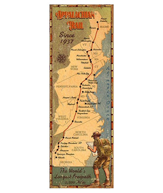 Customizable Appalachian Trail Map Vintage Style Metal Sign ...