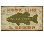 Custom Bait & Tackle with Bass Vintage Style Wooden Sign