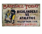 Custom Baseball Today Highlanders v Athletics Vintage Style Metal Sign