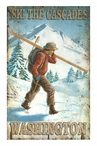 Custom Cross Country Ski the Cascades Vintage Style Metal Sign