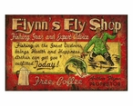 Custom Flynns Fly Shop Vintage Style Metal Sign