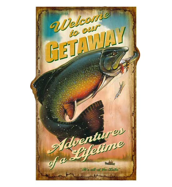Customizable getaway trout fishing vintage style wooden for Vintage fishing signs