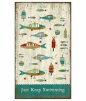 Custom Just Keep Swimming Fish Vintage Style Wooden Sign