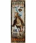 Custom Large Amarillo All Star Rodeo Vintage Style Metal Sign