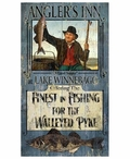 Custom Large Angler's Inn Fishing for Walleye Vintage Style Metal Sign