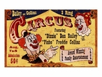 Custom Large Bailey & Collins 3 Ring Circus Vintage Style Metal Sign
