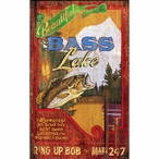 Custom Large Bass Lake Vintage Style Metal Sign