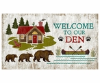 Custom Large Bears Welcome to Our Den Vintage Style Metal Sign