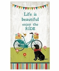 Custom Large Black Lab Dog & Bicycle Vintage Style Metal Sign