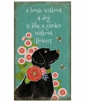 Custom Large Black Lab Dog in Garden Vintage Style Metal Sign