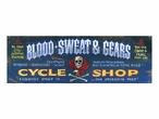Custom Large Blood Sweat & Gears Cycle Shop Vintage Style Metal Sign
