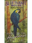 Custom Large Blue Parrot Hotel and Lounge Vintage Style Metal Sign