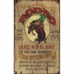 Custom Large Bronco Rodeo Old Settlers Day Vintage Style Metal Sign