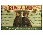 Custom Large Camp Run-A-Muk with Bears Vintage Style Metal Sign