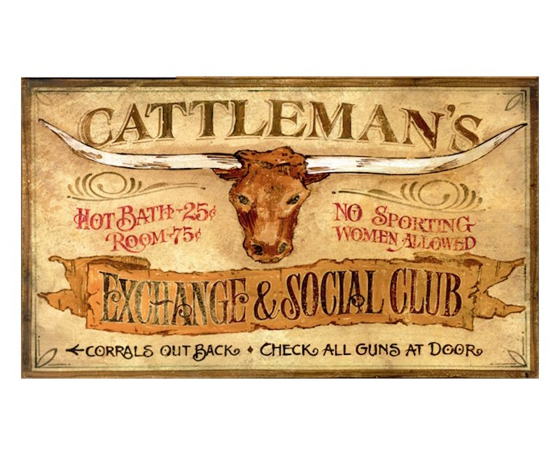 Customizable Large Cattlemans Exchange & Social Club Vintage Style ...