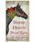 Custom Large Christmas Horse Sleigh Rides Vintage Style Wooden Sign