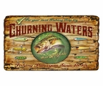Custom Large Churning Waters Bass Fishing Vintage Style Wooden Sign