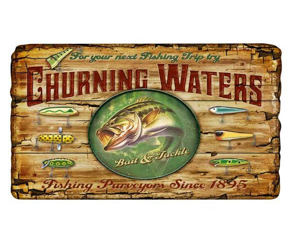 Customizable large churning waters bass fishing vintage for Vintage fishing signs