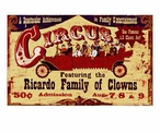 Custom Large Circus Ricardo Family of Clowns Vintage Style Metal Sign