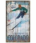 Custom Large Crested Butte Colorado Skiing Vintage Style Metal Sign