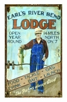 Custom Large Earl's River Bend Lodge Vintage Style Metal Sign