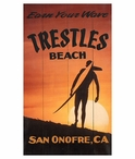Custom Large Earn Your Wave Trestles Beach Vintage Style Metal Sign