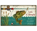 Custom Large Eat Sleep Fish Vintage Style Metal Sign