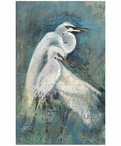 Custom Large Egret Pair Vintage Style Metal Sign