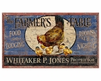 Custom Large Farmer's Table Food & Lodging Vintage Style Metal Sign