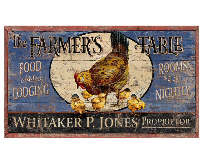 Customizable large farmer 39 s table food lodging vintage for Plaque metal cuisine