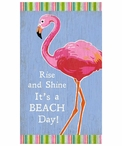Custom Large Flamingo Bird Rise and Shine Vintage Style Metal Sign