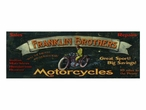 Custom Large Franklin Brothers Motorcycles Vintage Style Metal Sign