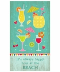 Custom Large Happy Hour at the Beach Vintage Style Metal Sign