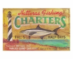 Custom Large Hatteras Fishing Charters Vintage Style Metal Sign