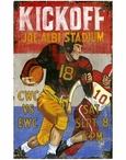 Custom Large Kickoff Football Vintage Style Metal Sign