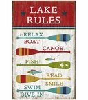 Custom Large Lake Rules with Oars Vintage Style Metal Sign