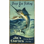 Custom Large Marlin Deep Sea Fishing Vintage Style Metal Sign