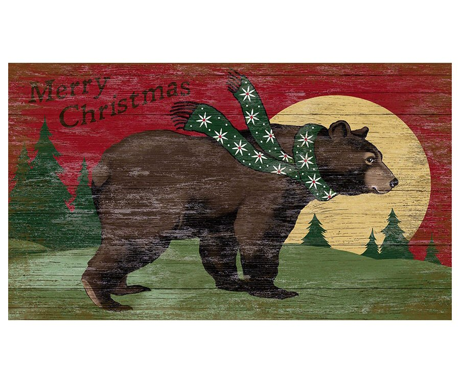custom large merry christmas bear moon vintage style wooden sign