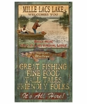 Custom Large Mille Lacs Lake Walleye Fishing Vintage Style Wooden Sign