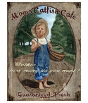 Custom Large Mom's Catfish Cafe Vintage Style Metal Sign